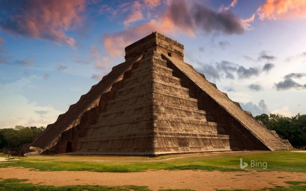 Equinox at the Temple of Kukulcan in Chichen Itza, Mexico